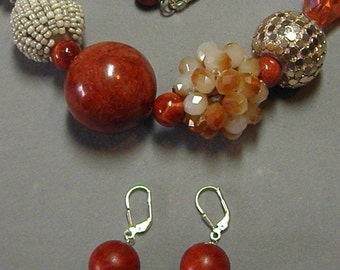 Genuine Sponge Coral necklace and earrings set