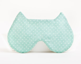Cat Sleep Mask, polka dot eye mask mother of the bride gift Mint Cats Bridesmaid Gift Eye Pillow Womens Sleep Masks