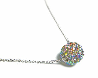 Pave Ball Necklace, Sterling Silver Disco Ball Necklace, Floating Crystal Pave Disco Ball Bead Necklace, Custom Length