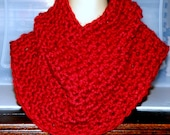 Outlander Inspired Cowl Scarf, Large,Thick and soft Crocheted knit Cowl, Wide Cowl Neck Warmer, Thick Warm Infinity Scarf Cowl in Autumn Red
