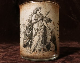 "Freya II Candle holder/ luminary with real leaf paper goddess ""Freya"""