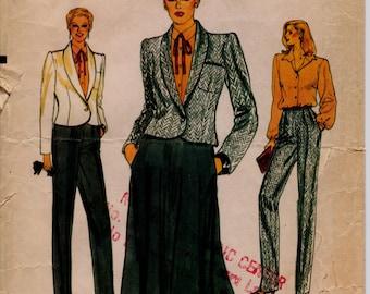 "Half-Size Jacket, Skirt, Pants, Blouse Suit Pattern, Vogue 7512 Vintage 1980s Plus Size 18 1/2 Pattern, Bust 41"" (104cm), Free US Shipping"