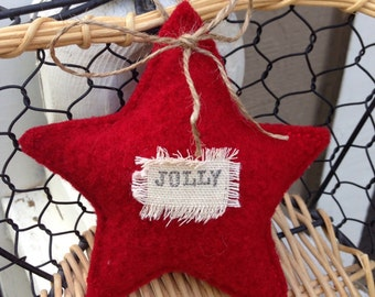 "Recycled red wool ""Jolly"" star"