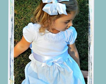 Flower Girl Dress  Beautiful White Eyelet and Lace Flower Girl Dress with Matching Hair Bow