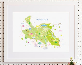 Map of Hampstead Heath Art Print