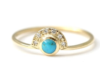 Turquoise Engagement Ring with Daimonds - Alternative Engagement Ring - 18k Solid Gold