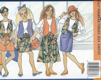 Butterick Busybodies 4943 Girls Vest, Top, Skirt, Shorts and Culottes Pattern, 7-8-10 & 12-14 UNCUT