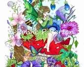 Summer Fae fairy floral cartoon fine art 5X7 PRINT