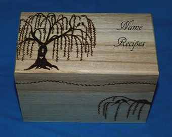 Decorative Wood Burned Wedding Recipe Card Box Rustic Wooden Recipe Box Wedding Love Birds Personalized Carved Wood Box Weeping Willow Tree