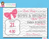 Ribbons and Bows Brunch Baby Shower Invitations - Printed Baby Shower Invitations - Custom Invitations