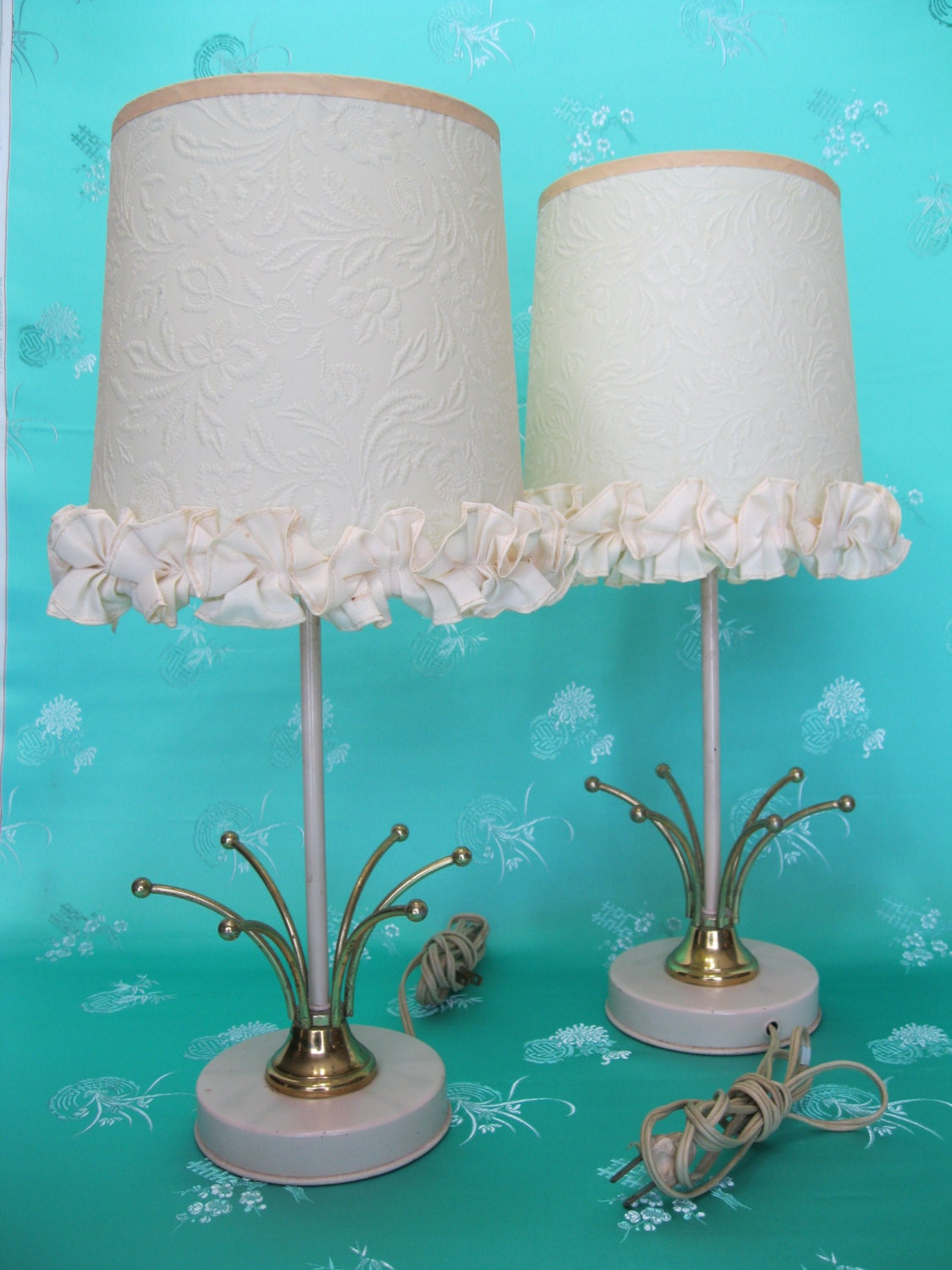 Pair Of Lamp Shades Funky Retro Mid Century Floral And