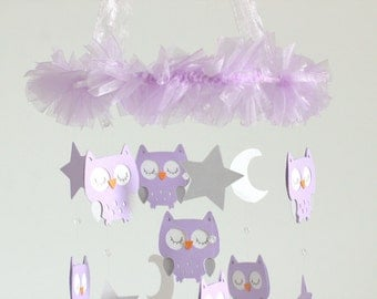 Owl Nursery Mobile with CRYSTAL acrylic beads, in Lavender & Gray- Baby Mobile, Baby Shower Gift