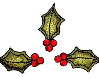 ID #8208B Lot of 3 Holly Berry Christmas Leaf Decoration Iron On Applique Patch