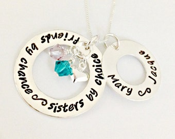 Friends by Chance Sisters by Choice Hand Stamped Necklace with Heart & Birthstones - Friendship Sister Personalized Name Necklace - Custom