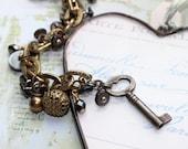 Key Bracelet, Antique Button Bracelet, Button Jewelry, Chunky Chain Bracelet w Key and Toggle, Silver and Gold, Upcycled Jewelry  veryDonna