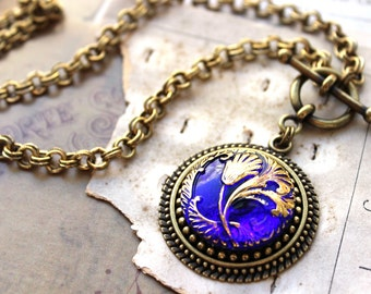 Royal Blue Art Glass Necklace, Brilliant  Blue w pure Gold details,Toggle Necklace, Czech Glass Necklace, Button Jewelry by veryDonna