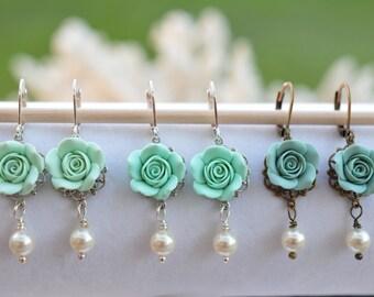 1 pair Green Mint shade Rose Earrings. Mint Green Rose Earrings, Light Mint Rose Earrings, Dusty Mint Rose Earrings.