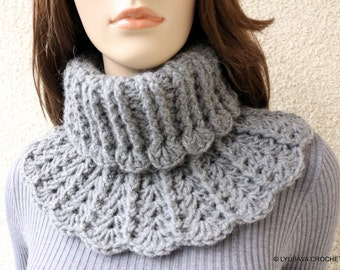 Crochet Neck Warmer PATTERN, Chunky Crochet Scarf DIY, Winter Crochet Gift For Women, Instant Download PDF Pattern No.155 Lyubava Crochet