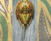 Hand Painted Horseshoe Crab Shell - Tribal Mask Metallic Series 2, Dune Time Arts