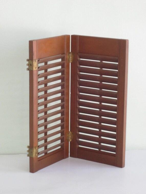 Pair Vintage Wood Louvered Hinged Shutters