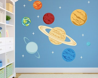 Planets Printed Wall Decal -Space Decal, Solar System Decal, Kids Space Decor, Planets Decal, Science Decal, Solar System Decor, Planets Art
