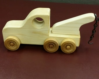 Wooden Toy Tow Truck, Natural Toys,