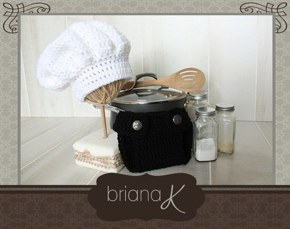 Pattern instant download newborn chef hat and diaper cover