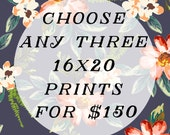 Set of three photographs - any three 16x20 prints for 150 - discounted price - vintage style photography - nursery room - home decor