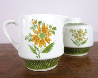 Vintage Bellegay Ironstone Cream & Sugar Set, Made in Japan, Serving Dishes, 4292 Bowl Creamer Pitcher Green Yellow Gold Flowers