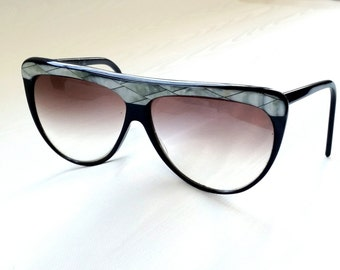 Black Flat Top Oversized Eyeglass Frames / Vintage 80s Mother of Pearl Inlaid Glasses / Made in Italy