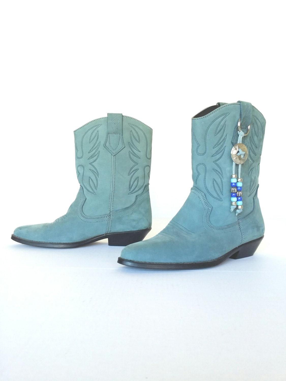 s blue suede cowboy boots vintage blue leather