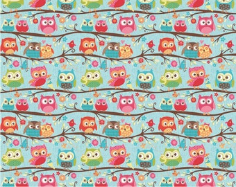 Happy Flappers  -  1 Yard  Cut - Novelty Fabric  - Owls Blue - Cotton Fabric - Riley Blake Designs - Owl Fabric