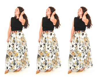 Long Floral Print Maxi Dress // Turtleneck Dress