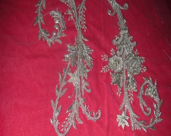 "No. 200 French Design of Couture Hand Embroidered MONOGRAM  ""n"" Completely Beaded With Silver/Pearls"