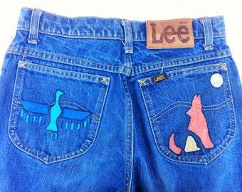 RARE -One Of A Kind- Vintage High Waisted Lee Hand Painted Tribal/Western/Boho/Desert Jeans