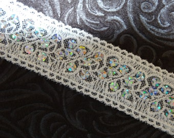 Beautiful Creme Color Lace with Sequins