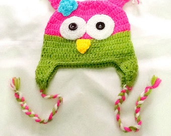 SALE------BABY OWL Hat - Baby hat -crochet baby hat -animal hat -owl hat