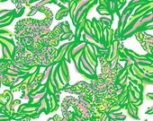 Lilly Pulitzer fabric Resort White Seeing Pink Elephants  9 X 18 or 18 X 18 inches