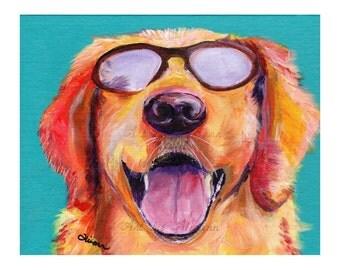 Future so Bright - Golden Retriever -Limited Edition - Dog Art -Art Print from Original Art - Dog Portrait - Dog Lovers