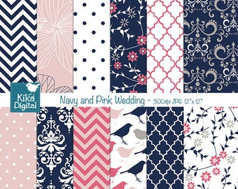 Navy and Pink Digital Papers, Navy and Coral Digital Papers - wedding, card design, invitations, background - INSTANT DOWNLOAD