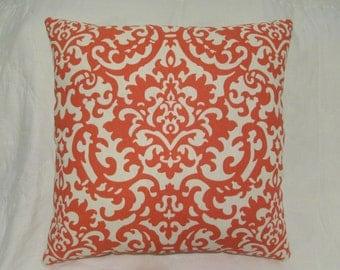 Orange Pillow, Cream Pillow, Cottage Pillow, Farmhouse Pillow, Shabby Cottage Decor, Throw Pillow, Accent Pillow, Orange Cushion