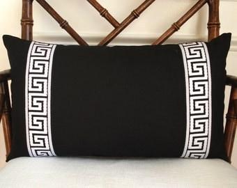 Greek key pillow cover, greek key trim pillow, greek key tape pillow, black linen lumbar pillow cover with black and white greek key trim.