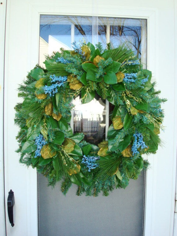 Blue Crystal Twigs With Lemon Leaves Holiday Wreath