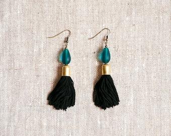 Obsius Tassel Earrings - Black Silk and Tumbled Glass