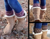 Tunisian Crochet Braided Boot Cuff Pattern- Tunisian Crochet Boot Cuff Pattern - Instant Download