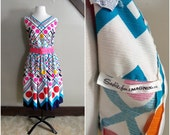 Life in Technicolor 1960s White/Bright Blue/Navy/Red/Pink/Hot Pink/Yellow/Orange/Green Polka Dot Dress with Hot Pink Belt AS IS