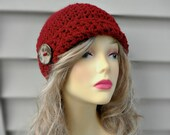 Crochet Cloche Hat Flapper Inspired Hat Clochet style hat with Coconut Button. Womens Winter Hat Crochet Accessories