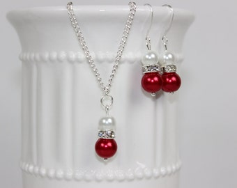 Bridesmaid Pearl White and Bright Red Jewelry Set, Pearl Necklace, Pearl Earrings, Bridesmaid Gift, Bridesmaid Jewelry, Wedding Gift