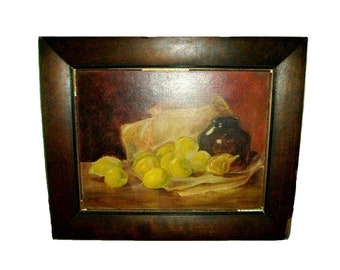 1910 French Country California Signed Antique Oil Canvas Still Life Rustic Painting Lemons Limes Fig or Garlic & Wine Old Pottery Crock Jug