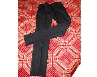 Vintage Chic Italian Designer Couture Black WOOL Gabardine Pearls Retro Skinny Pants Size 4 - 6 Eur 40 Trousers Pants
